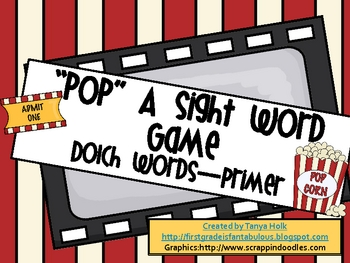 POP! Primer Dolch Sight Word Game