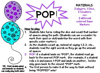 POP! A Sight Word Game! (3rd/4th Hundred Word Set)