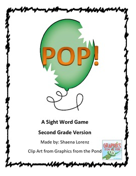 POP Sight Word Game (2nd Grade)
