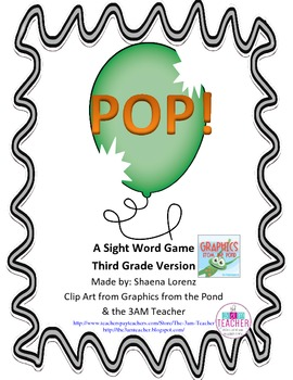 POP Sight Word Game (3rd Grade)
