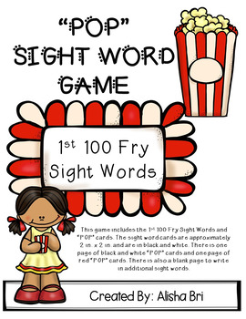 POP Sight Word Game Fry First 100 Words