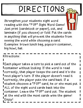 POP Sight Word Game Fry Seventh 100 Words