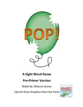 POP Sight Word Game (Pre-Primer)