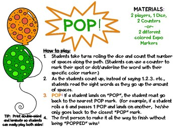 POP! The Sight Word Game! (5th/6th Hundred Fry List)