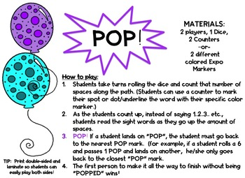 POP! The Sight Word Game BUNDLE!