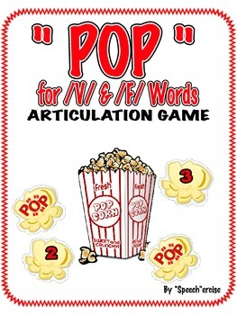 "SPEECH THERAPY ""POP"" for WORDS ARTICULATION GAME-/F/&/V/"