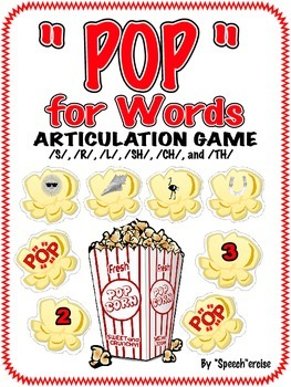 "SPEECH THERAPY ""POP"" for WORDS ARTICULATION GAME- /S/,/R/,/L,/SH/, /CH/&/TH/"
