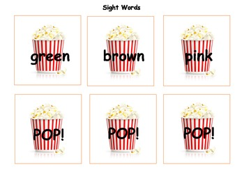 POPCORN!  A Letter Recognition, Letter Sound, and Sight Word Game!
