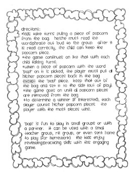 POPCORN!  Language Arts (part 3)