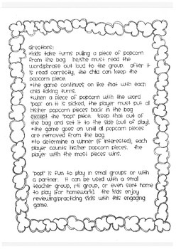 POPCORN!  Word Families