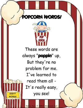 POPCORN words!  All 220 Dolch sight words