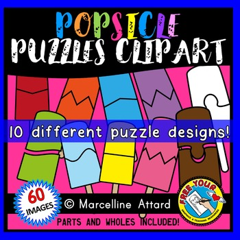 POPSICLE PUZZLES CLIP ART: SELF-CORRECTING PUZZLE TEMPLATES: SUMMER CLIPART