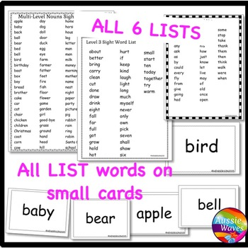 POPULAR SIGHT WORDS LISTS  BINGO GAMES CARDS BUNDLE all levels
