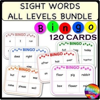 SIGHT WORDS Reading Center Activities BINGO GAMES All Grades BUNDLE