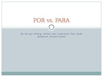 POR vs PARA - introduction to usage