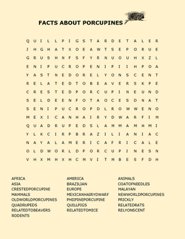 PORCUPINES AND FACTS WORD SEARCH