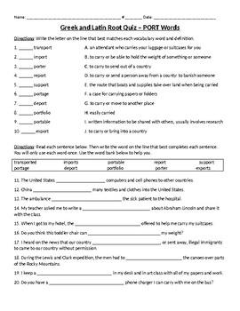 PORT Greek and Latin Root Quiz