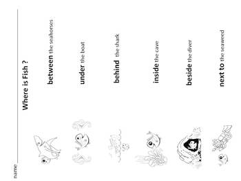 POSITION words & following directions * mini-book * printables * Where is Fish?