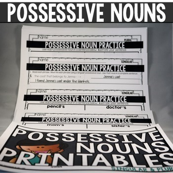 POSSESSIVE NOUNS anchor charts and task cards