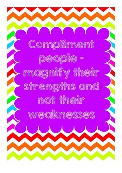 """POSTER - """"Compliment people - magnify their strengths and not their weaknesses"""""""