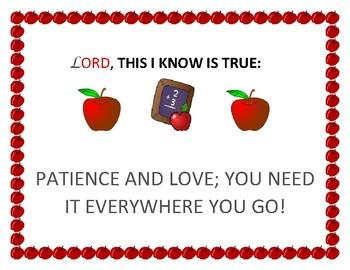 POSTER FOR YOUR DOOR, CLASSROOM, OR HALLWAY: PATIENCE & LOVE!