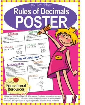 "MATH POSTER - Rules of Decimals - 24"" x 36"" - Use Year-After-Year"