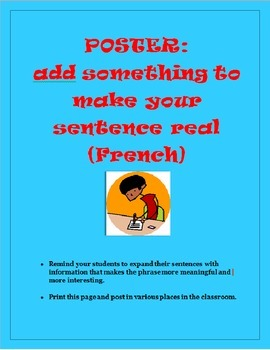 POSTER SENTENCE SCAFFOLDING FRENCH