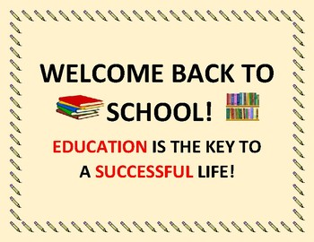 POSTER: WELCOME BACK TO SCHOOL!