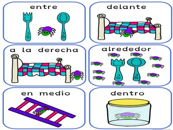 POSTER Y TARJETAS PREPOSICIONES SPANISH PREPOSITIONS POSTER AND CARDS
