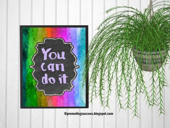 Classroom Decor Inspirational Quote Poster Rainbow Theme You Can Do It
