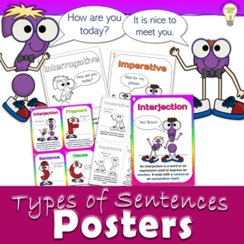 PDF Posters Set 12 Sentences Types Interjection Subject Predicate Verb Complete