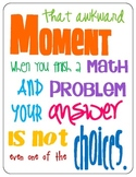 FREE Poster Math Multiple Choice - Funny Quote