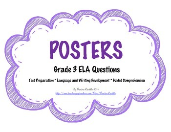 POSTERS of 3rd Grade ELA Questions - CCLS aligned