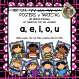 POSTERS y TARJETAS de sílabas iniciales en palabras con  a, e, i, o, u (ESPAÑOL)