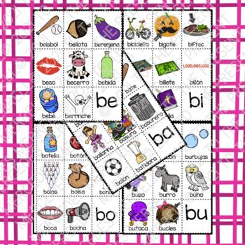 POSTERS y TARJETAS de sílabas iniciales en palabras con b (en español)
