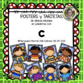 POSTERS y TARJETAS de sílabas iniciales en palabras con c (en ESPAÑOL)
