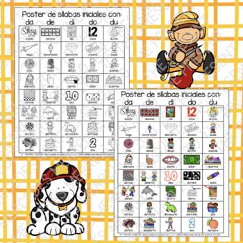 POSTERS y TARJETAS de sílabas iniciales en palabras con d (en español)