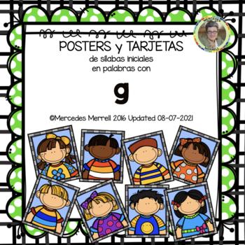 POSTERS y TARJETAS de sílabas iniciales en palabras con g (en ESPAÑOL)