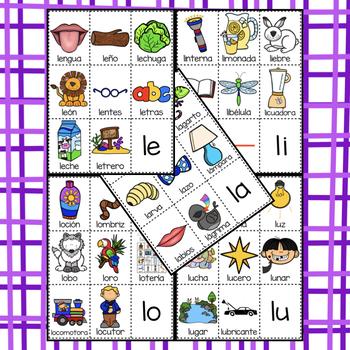 POSTERS y TARJETAS de sílabas iniciales en palabras con l (en español)