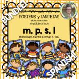 BUNDLE! POSTERS y TRJETAS de sílabas iniciales... con m, p, s, l (en ESPAN!OL)