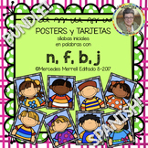 POSTERS y TARJETAS de sílabas iniciales en palabras con n, f, b, j BUNDLE!