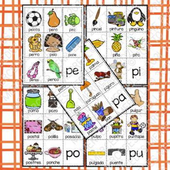 POSTERS y TARJETAS de sílabas iniciales en palabras con p (en español)