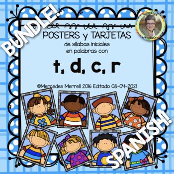 POSTERS y TARJETAS de sílabas iniciales en palabras con t, d, c, and r BUNDLE!