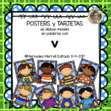 POSTERS y TARJETAS de sílabas iniciales en palabras con v (en ESPAÑOL)