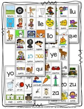 POSTERS y TARJETAS sílabas iniciales en palabras con ll, qu, y, z Bundle!