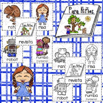 POSTERS y TARJETAS de sílabas iniciales en palabras con r (en español)