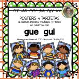 POSTERS y TARJETAS sílabas iniciales, mediales, y finales palabras con gue gui