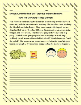POTATO CHIP DAY CREATIVE WRITING PROMPT: TWO CHIPSTERS & THE ELF