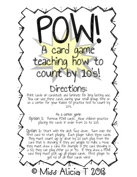 POW! A Card Game Teaching Counting by 10's