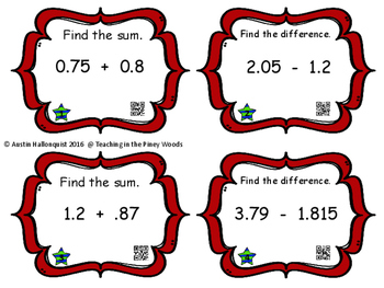 POW Adding & Subtracting Decimals Game with/without QR Codes